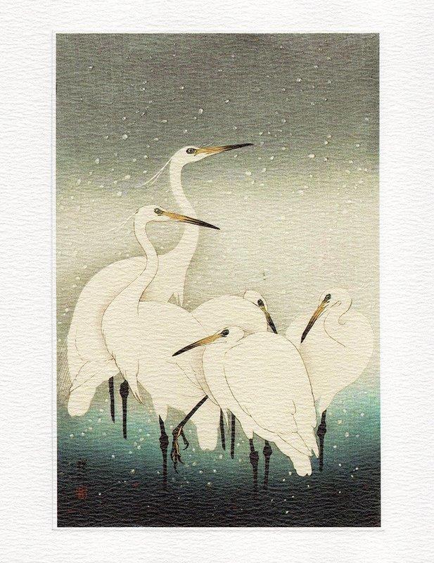 Herons in Snow- Winter printmakers Card