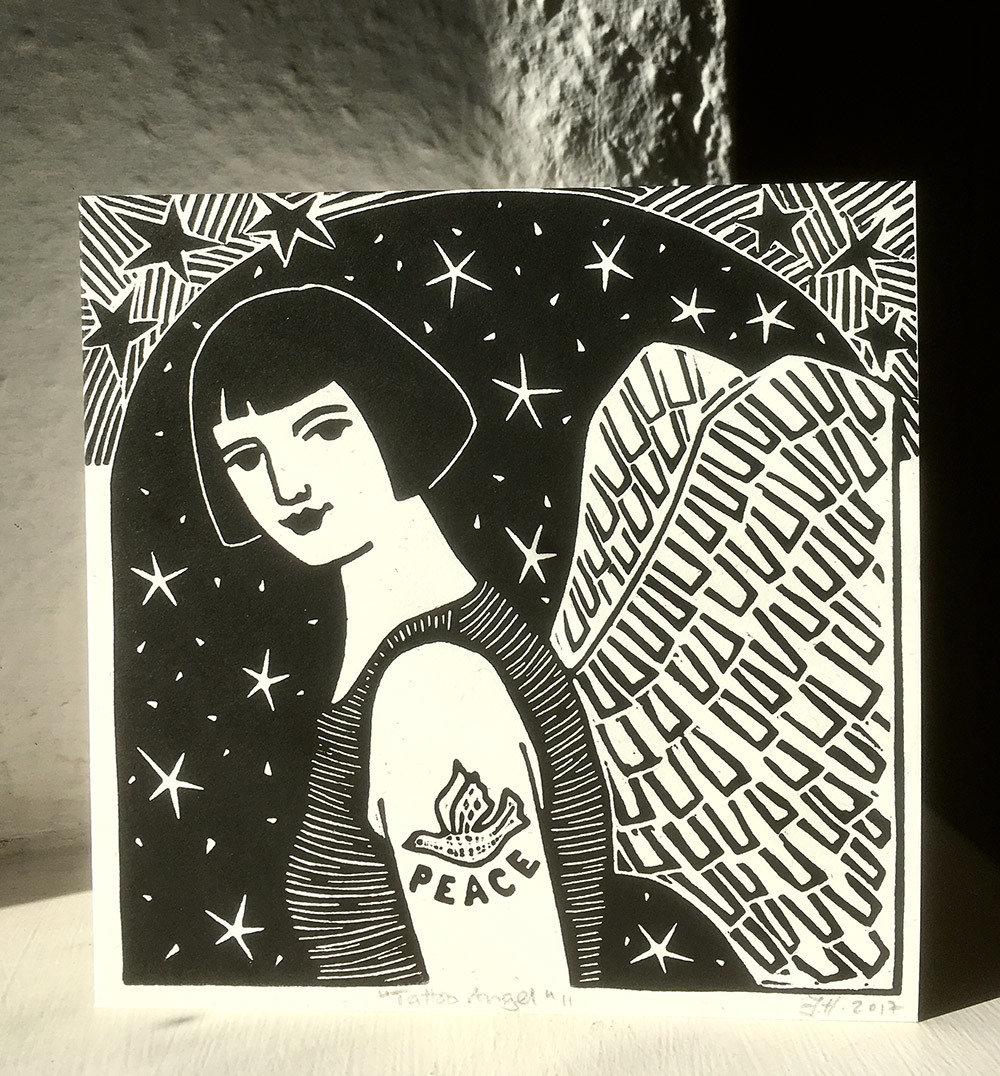 Tattoo Angel II   -Hand-printed card