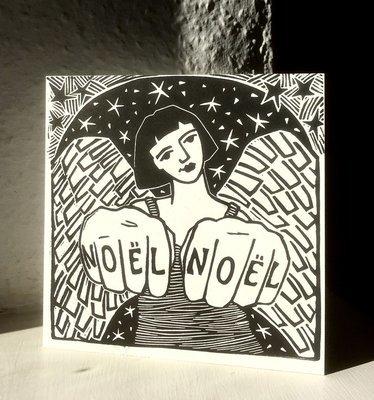 Tatoo Angel I  Hand-printed Card