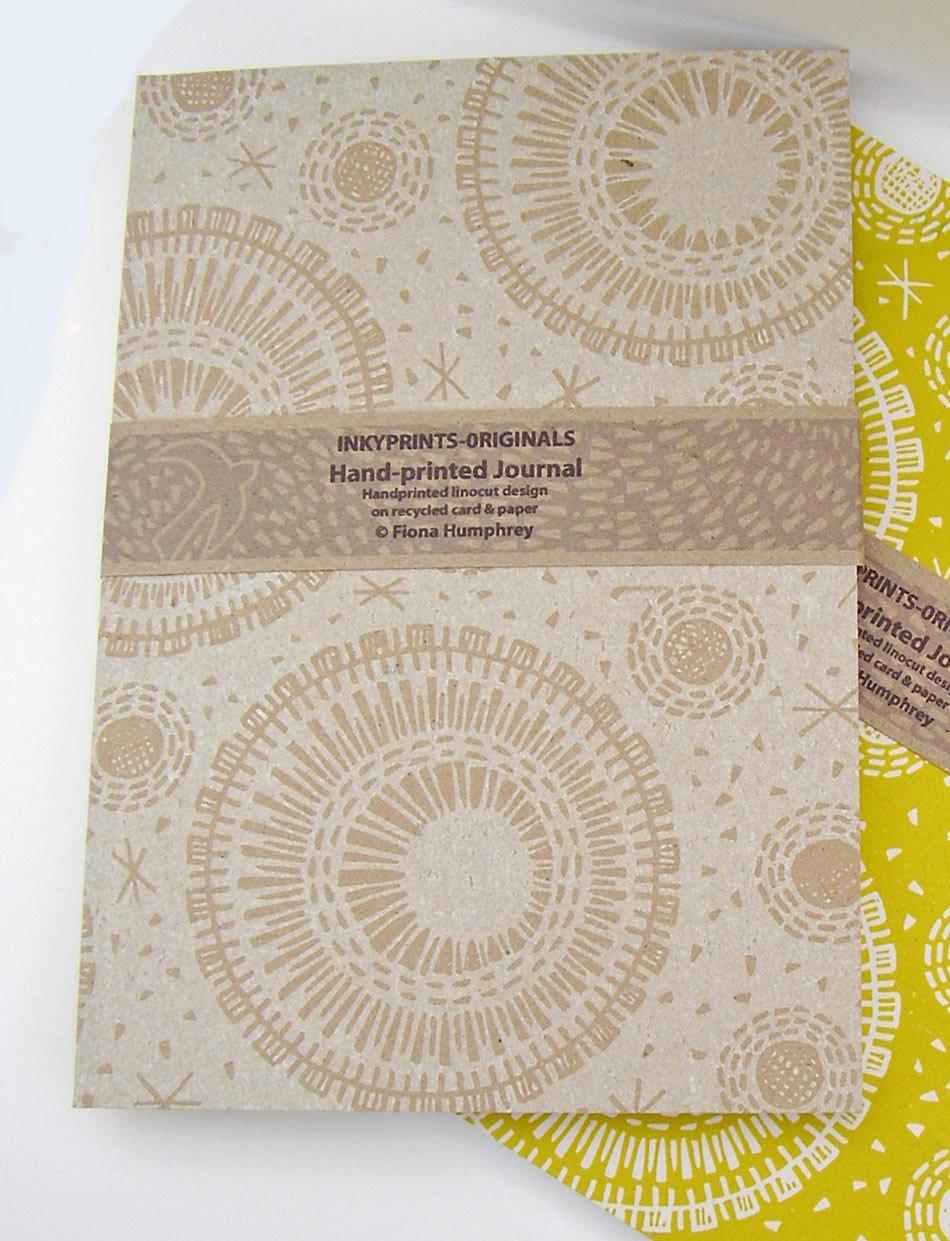Hand-Printed Journal: Sun, Moon & Stars