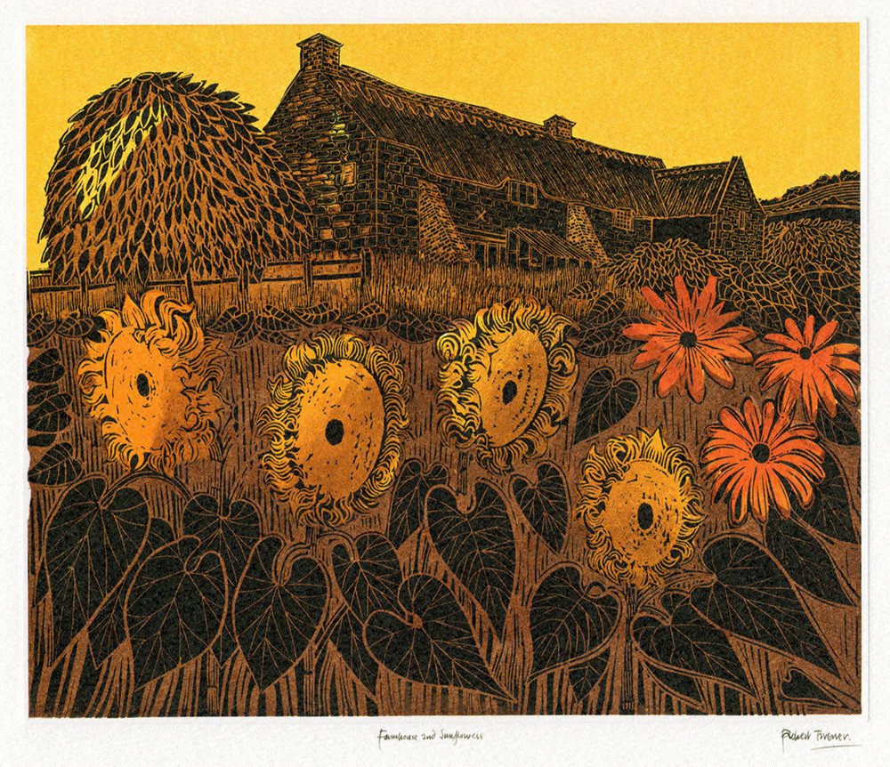Farmhouse and Sunflowers- Printmakers Card