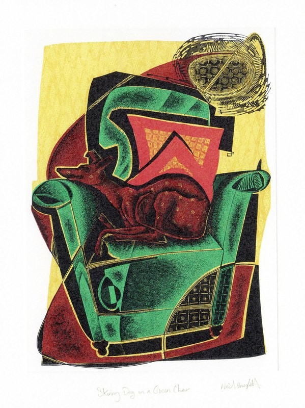 Skinny Dog on a Green Chair- Printmakers Card