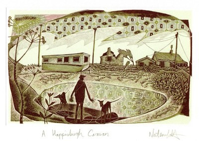 A Happisburgh Caravan - Printmakers  Art card