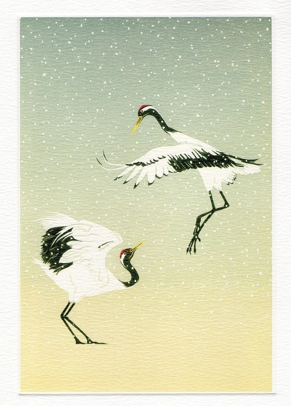 Red Crowned Cranes-Winter Printmakers card
