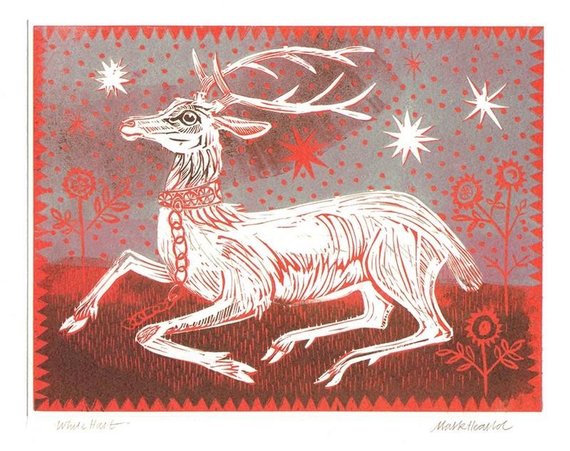 White Hart- Winter printmakers card