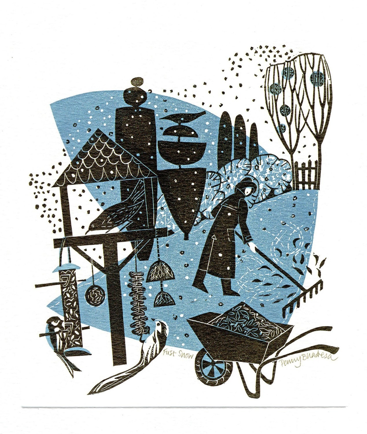 First Snow- Winter Printmakers Card