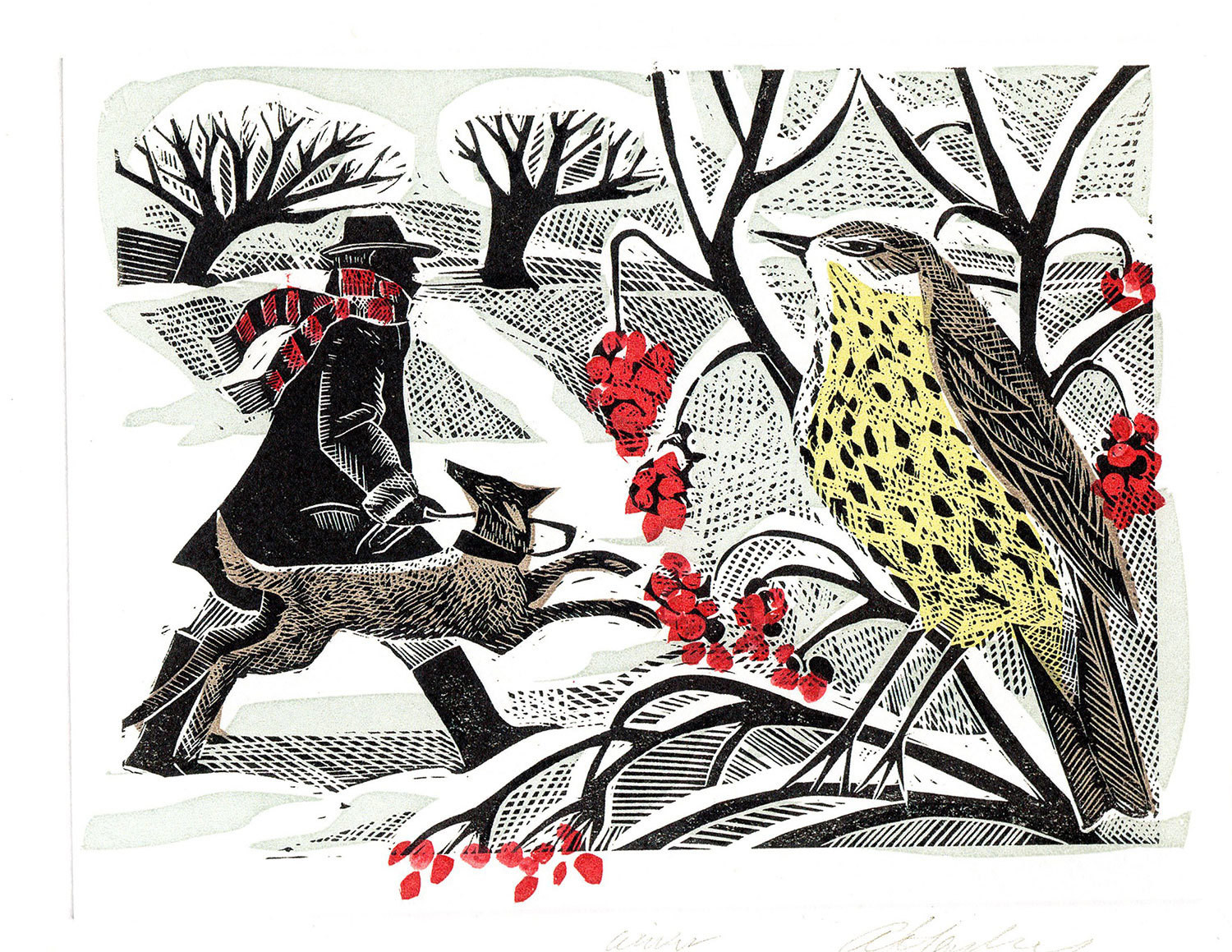 Winter Thrush - Winter Printmakers Card