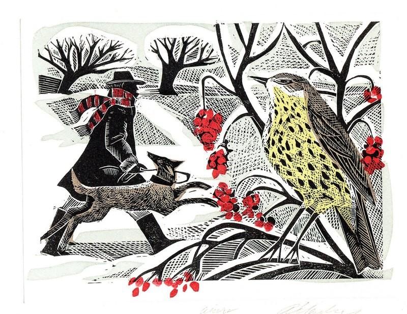 Winter Thrush - Winter Printmakers Card