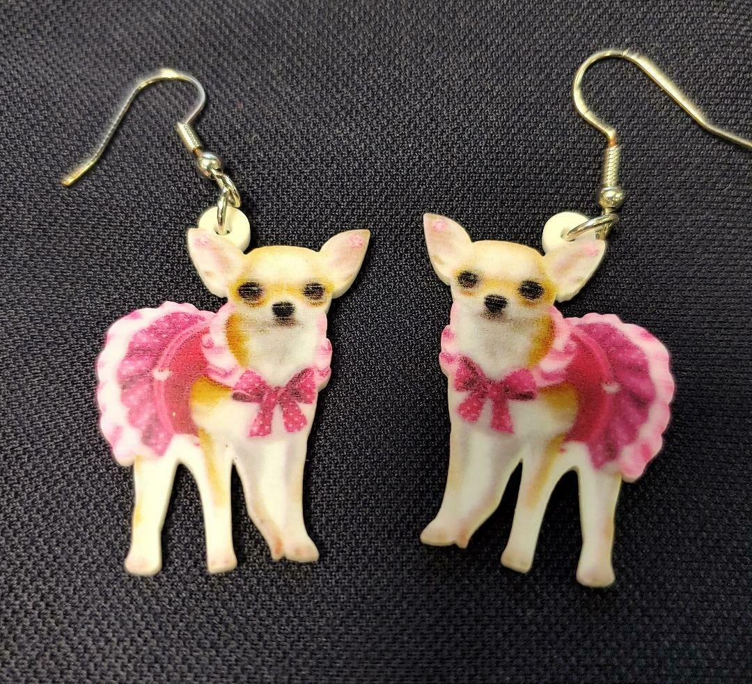 Cute Little Doggie in Pink Outfit Acrylic Earrings