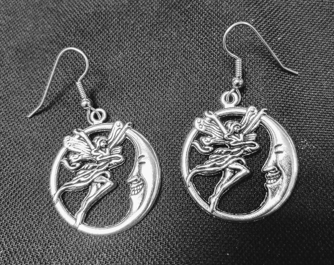 Fairy with Man in the Moon Earrings
