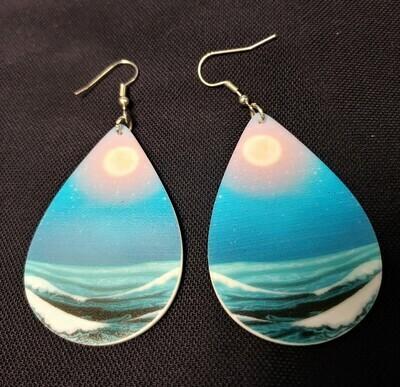 Beautiful Ocean and Sunset Acrylic Earrings