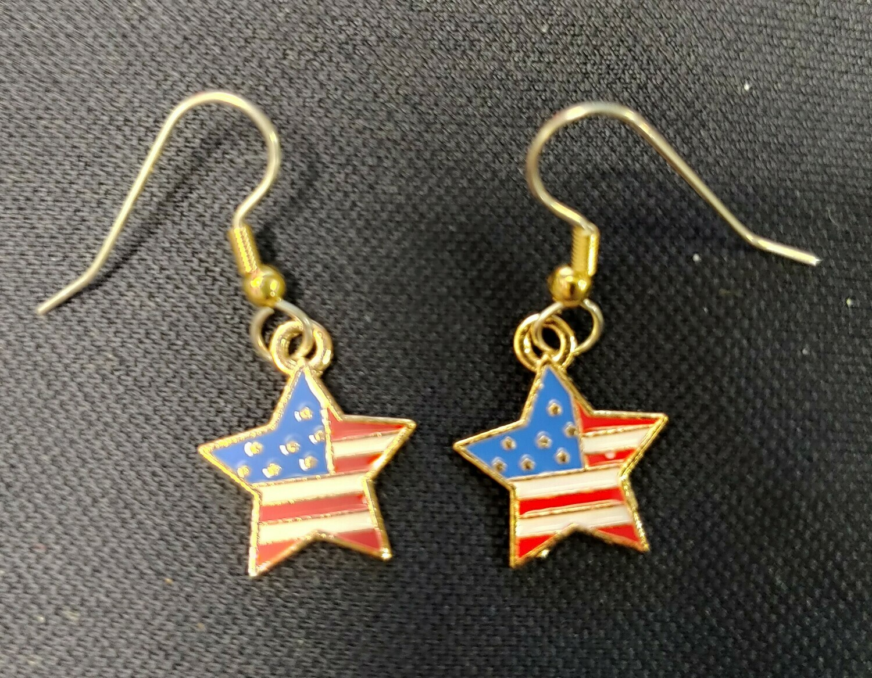 Star-Shaped Stars and Bars Flag Motif Earrings