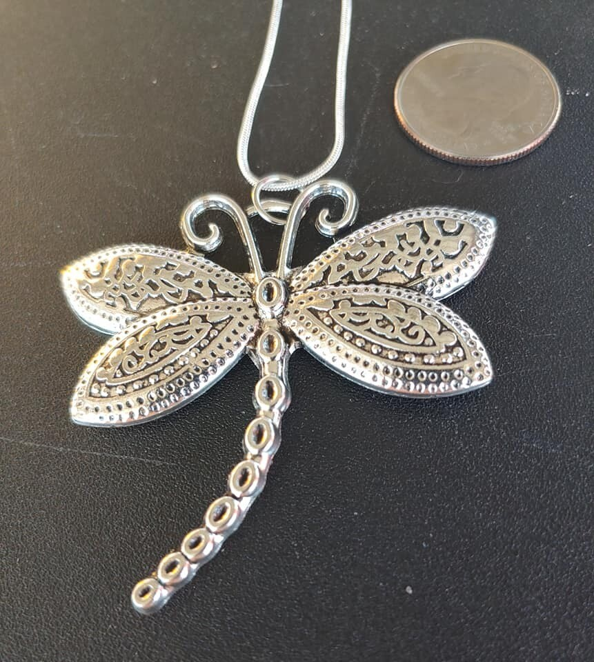Large Silvertone Dragonfly  Necklace