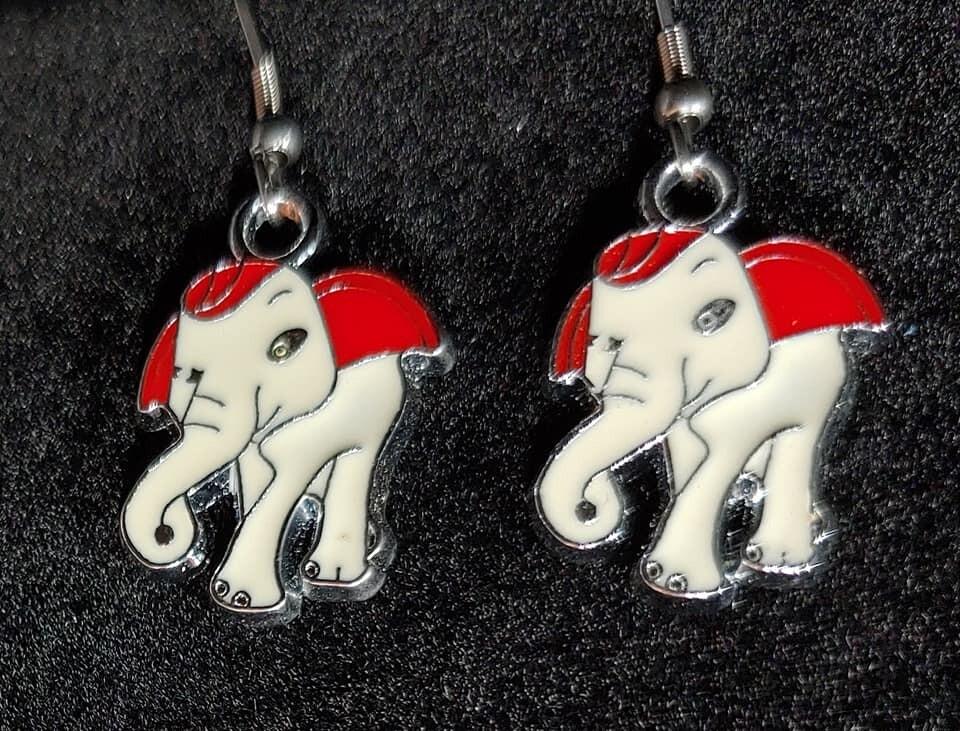 Enamel Elephant Earrings