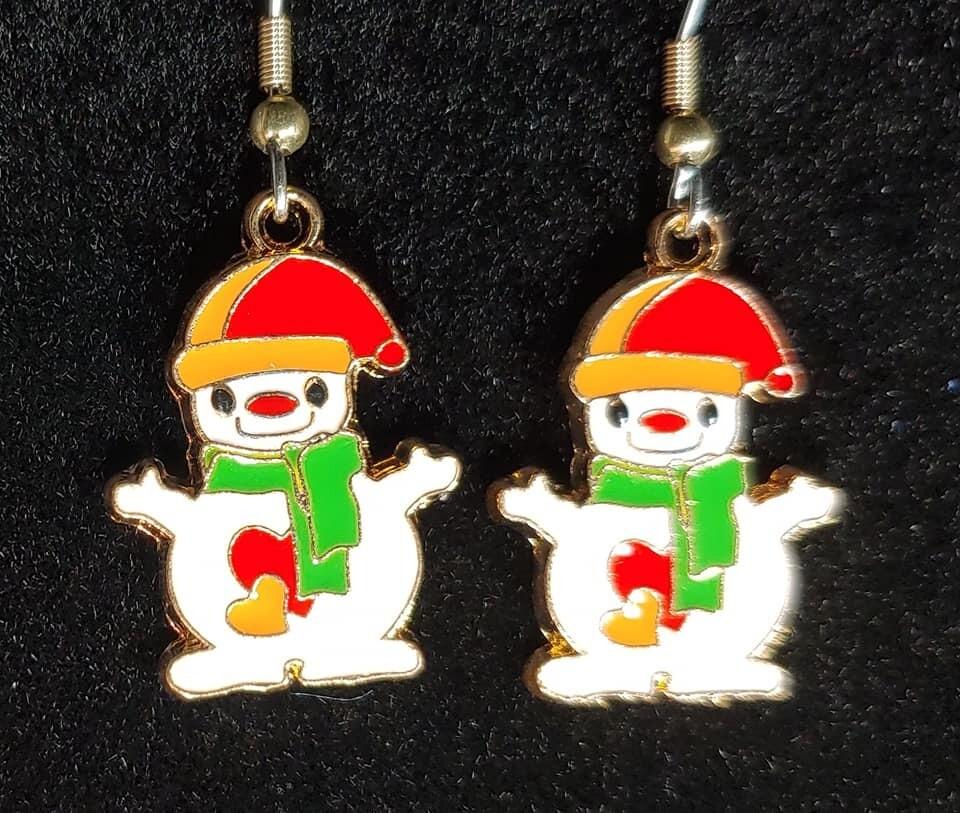 Enamel Snowman Earrings