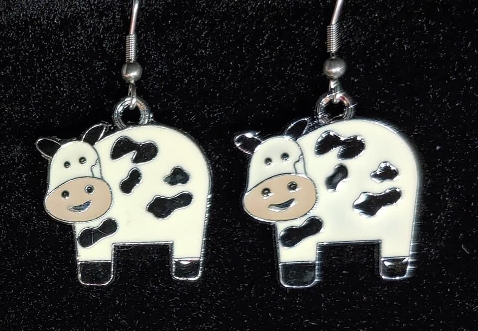Enamel Cow Earrings