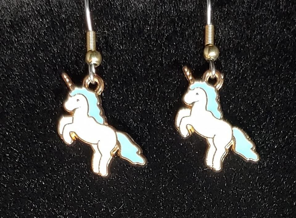 Leaping Unicorn Blue Mane Earrings