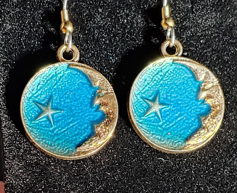Blue Moon and Star Earrings