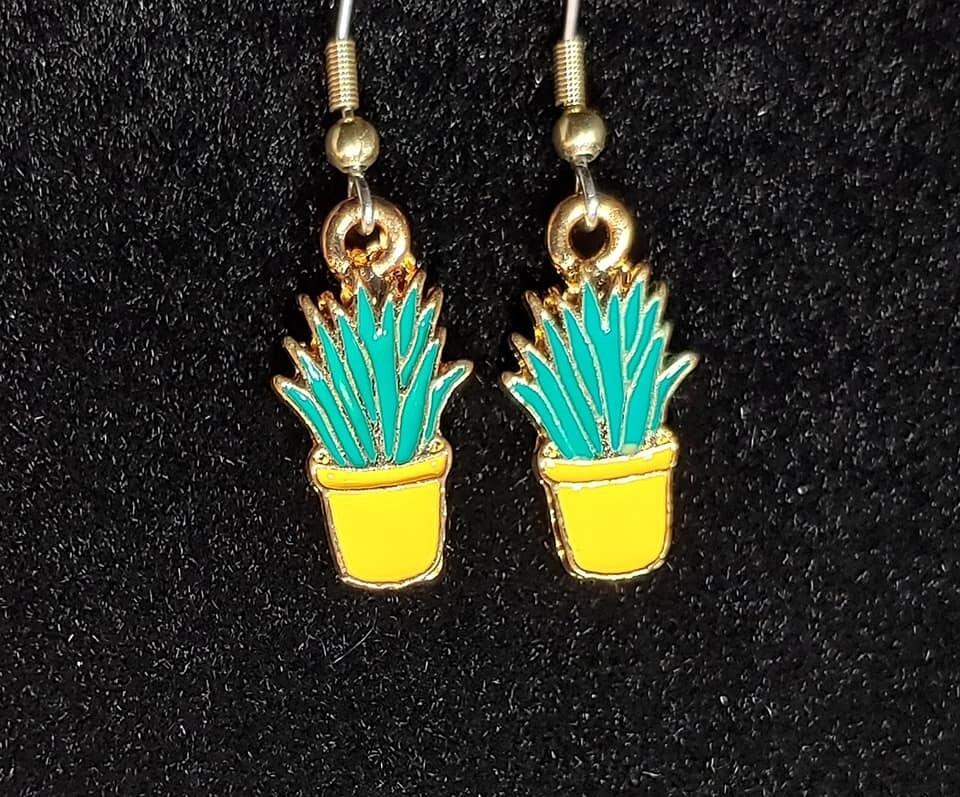 Houseplant in Yellow Pot Earrings