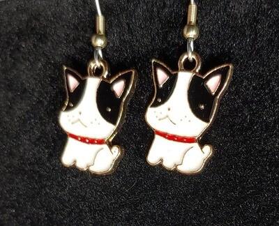 Little Dog Red Collar Earrings