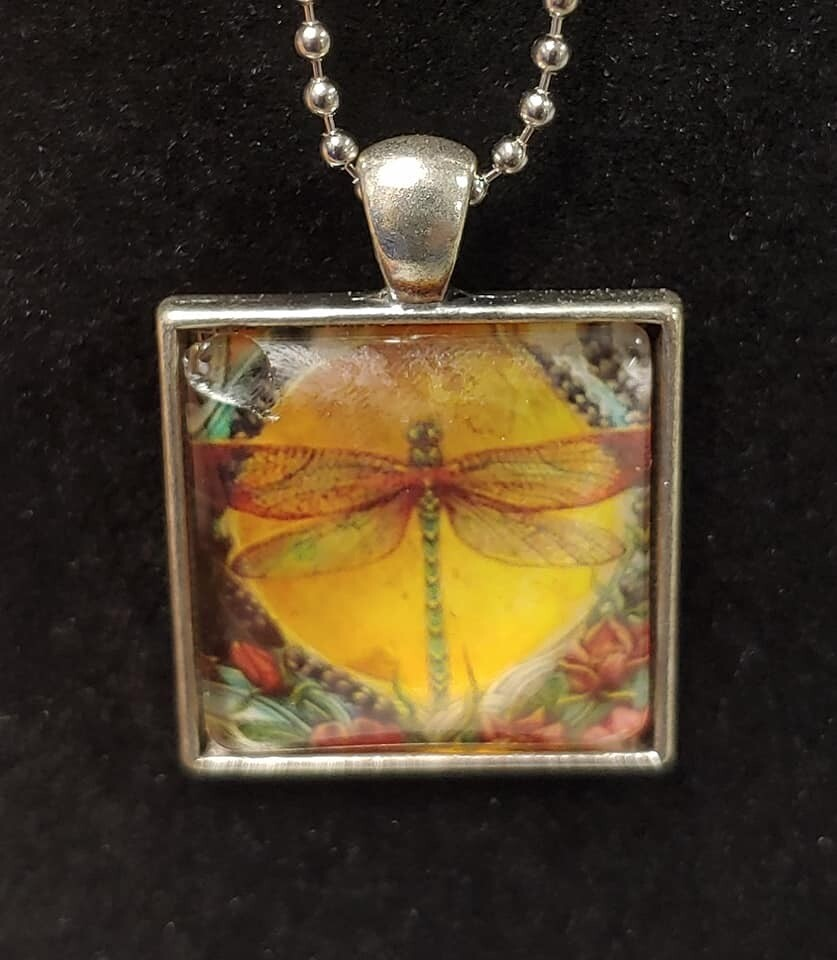 Dragonfly Pendant Necklace - Yellow Sun Background