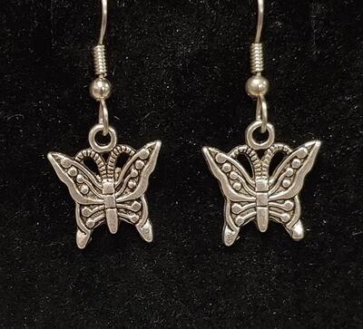 Butterfly Earrings - Small Silver-Tone