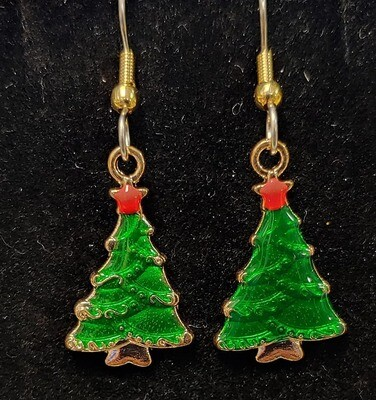 Christmas- Green Christmas Tree Earrings