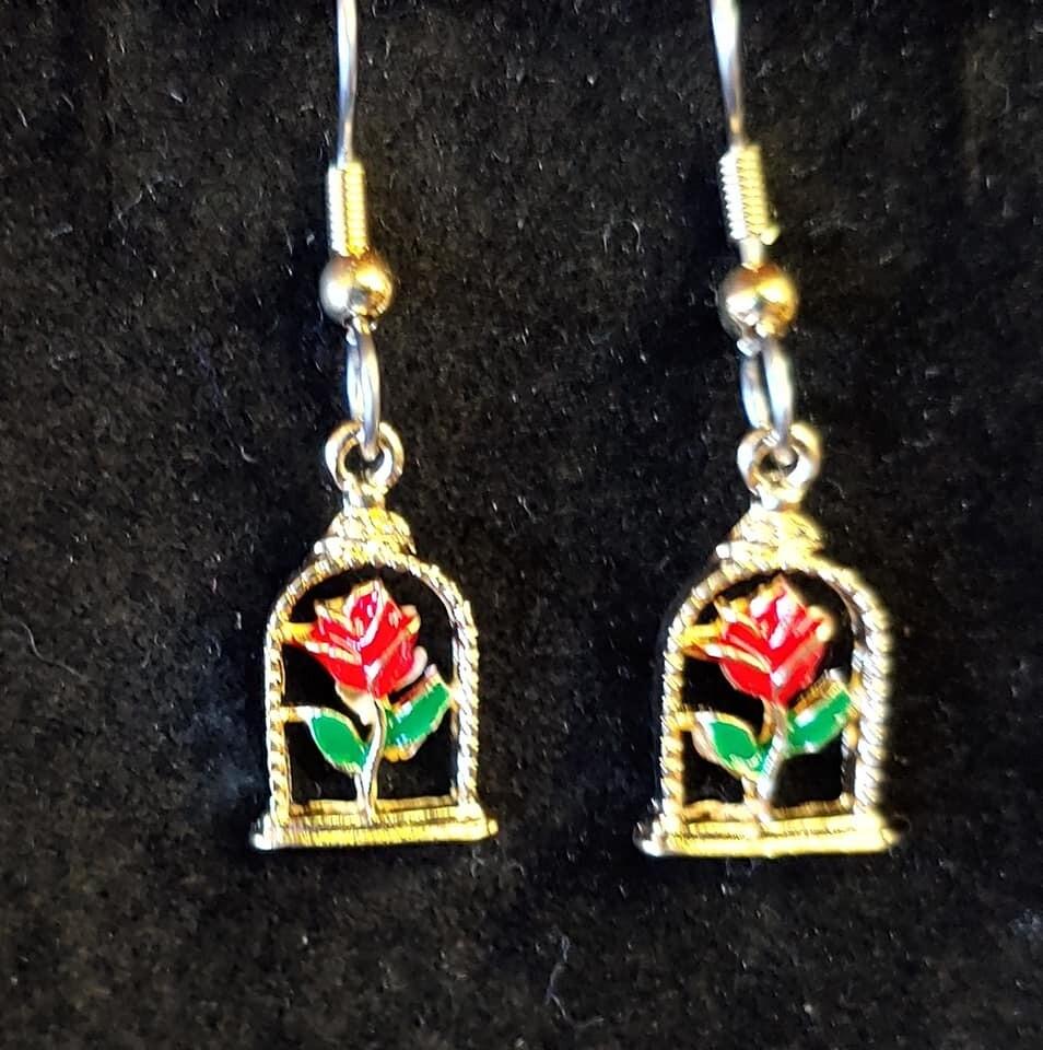 Rose In Dome Earrings