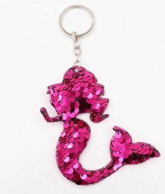 Mermaid/Heart/Star Glitter Pompom Sequins Key Chain