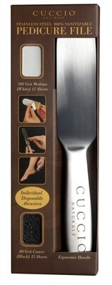 Cuccio Naturale Stainless Steel Pedicure File with 30 Grit Sheets