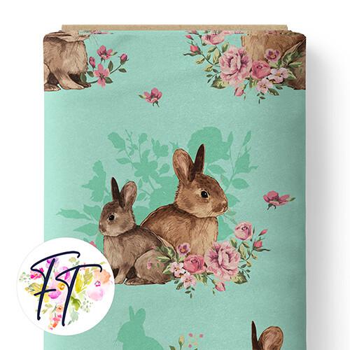 150 - Floral Bunny Aqua
