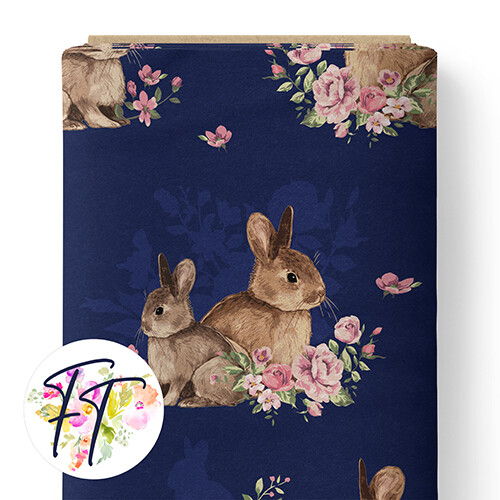 150 - Floral Bunny Navy
