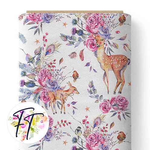150 - Floral Deer White