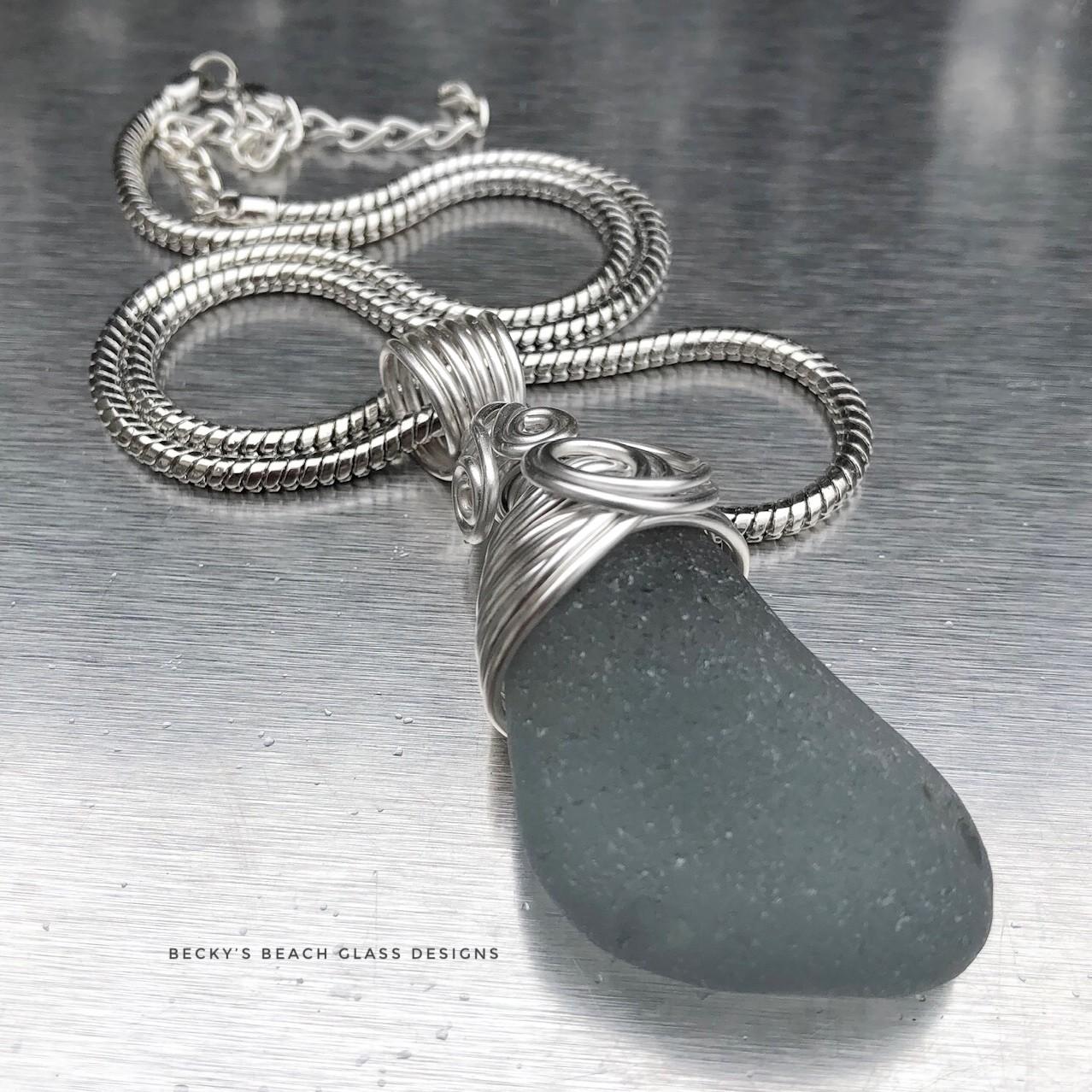 XXL Dark Gray Sea Glass Necklace