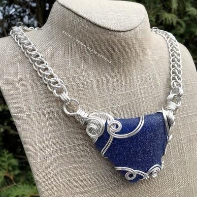 English Blue Sea Glass Necklace W/Handmade Chain