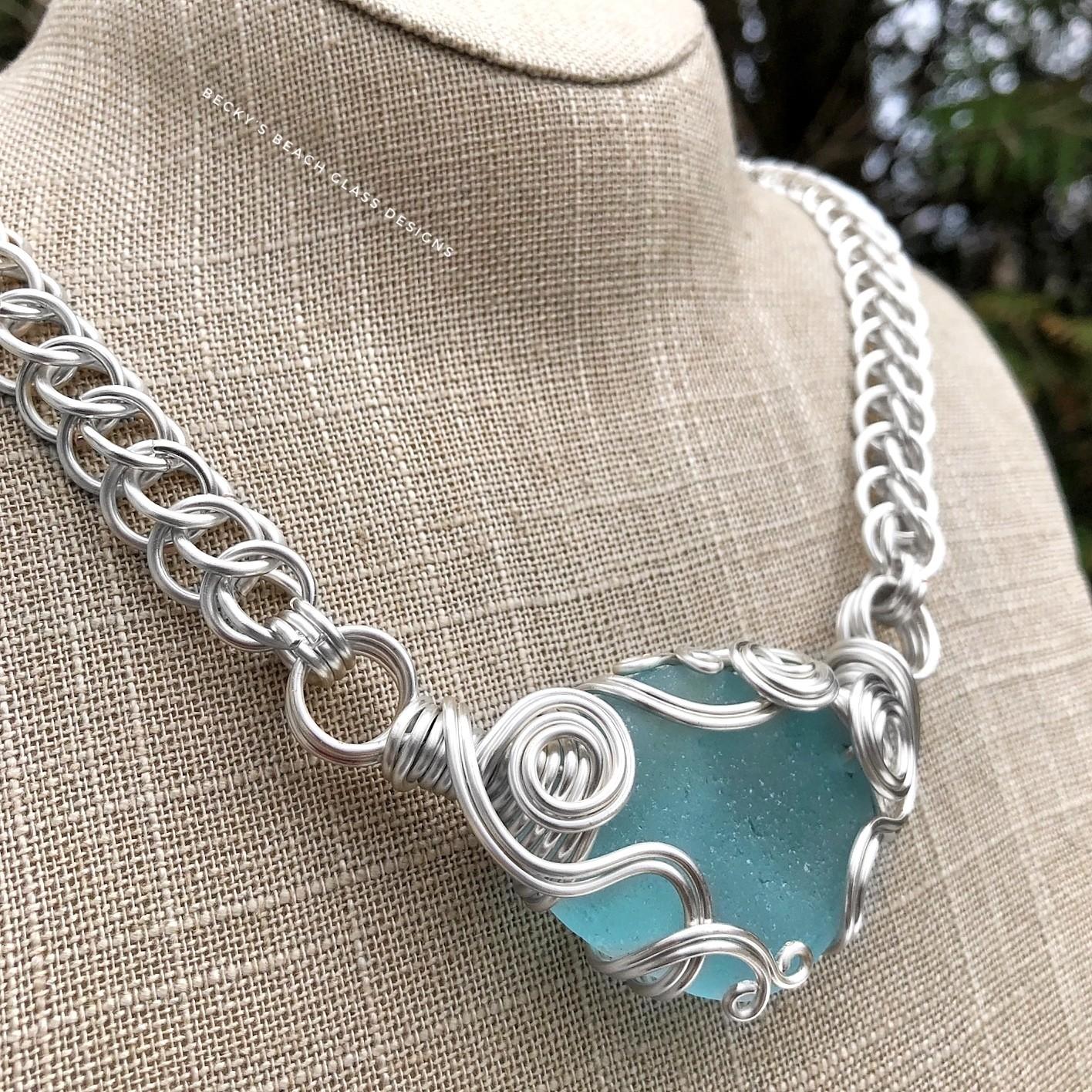 Large & Lovely Bright Aqua Blue Sea Glass Statement Piece