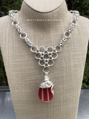 Red Striped Sea Glass Necklace