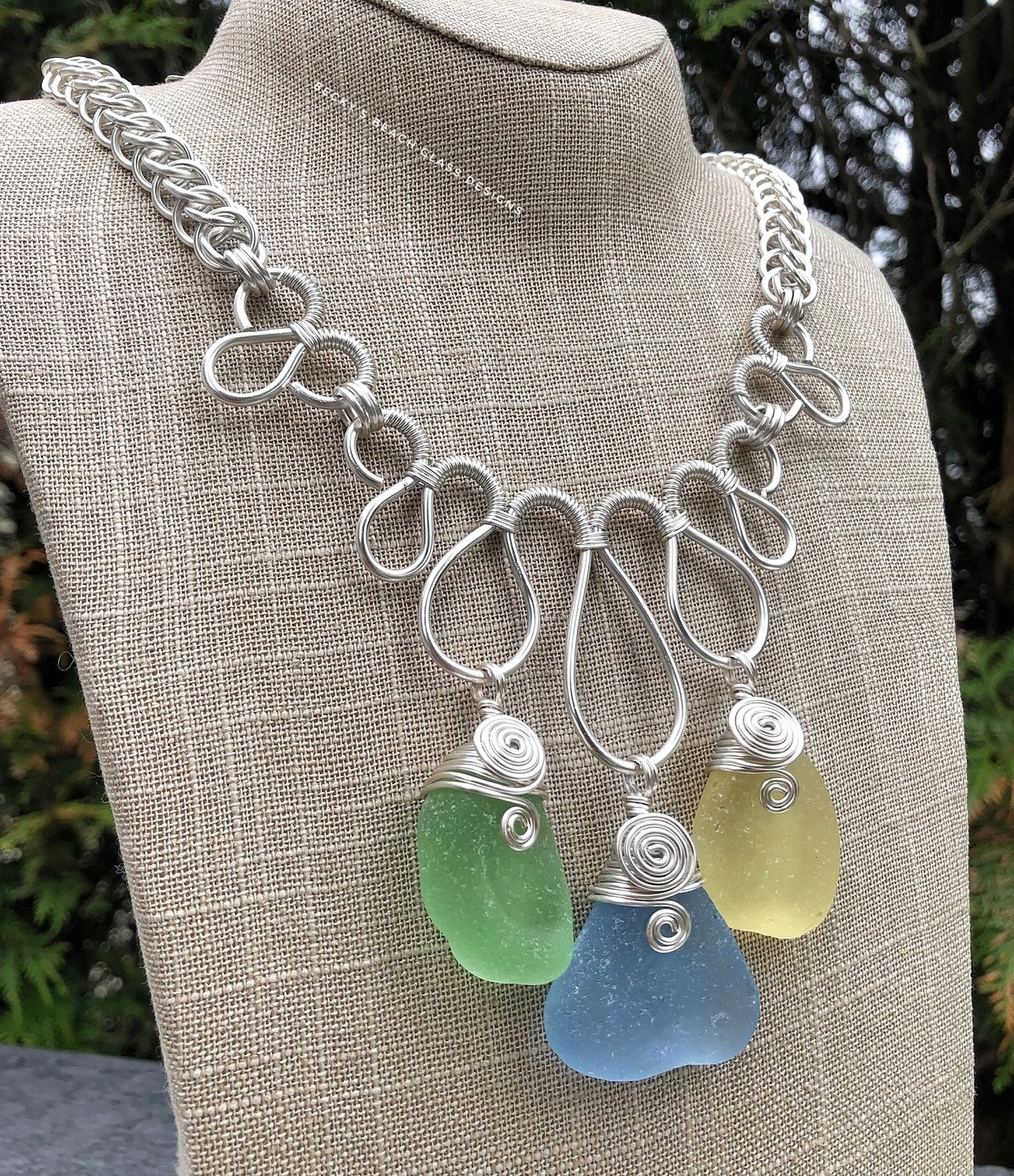 Spring/Summer Colors Sea Glass Fan Necklace