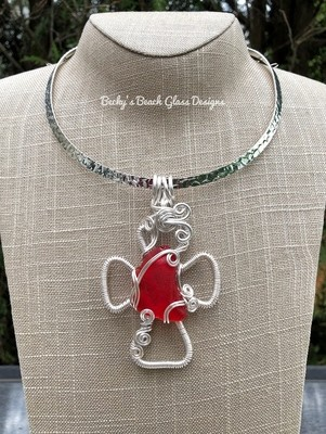Freeform RED Sea Glass Cross Necklace