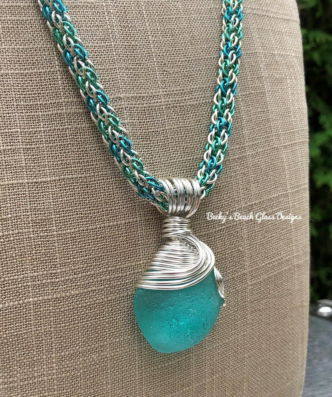 Sea Glass Necklace W/Handmade Chain
