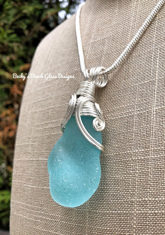 Russian Aqua Blue FLAWLESS Sea Glass Necklace