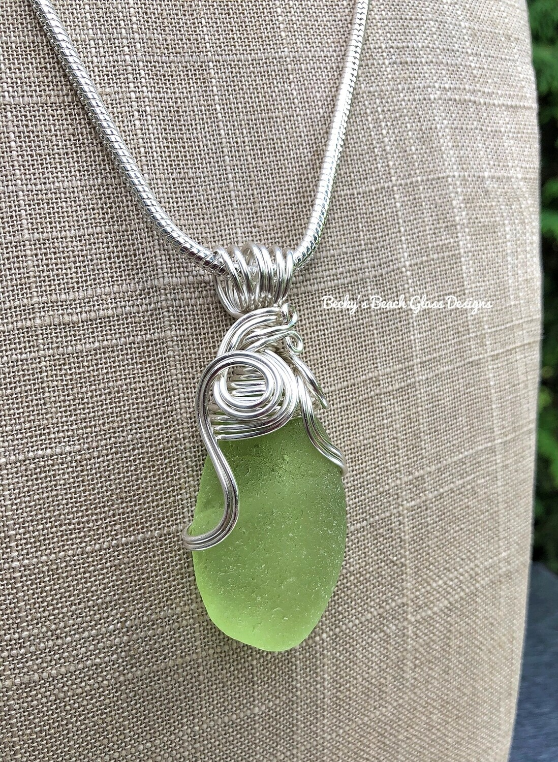 Frosty Rare Light Green Russian Sea Glass Necklace