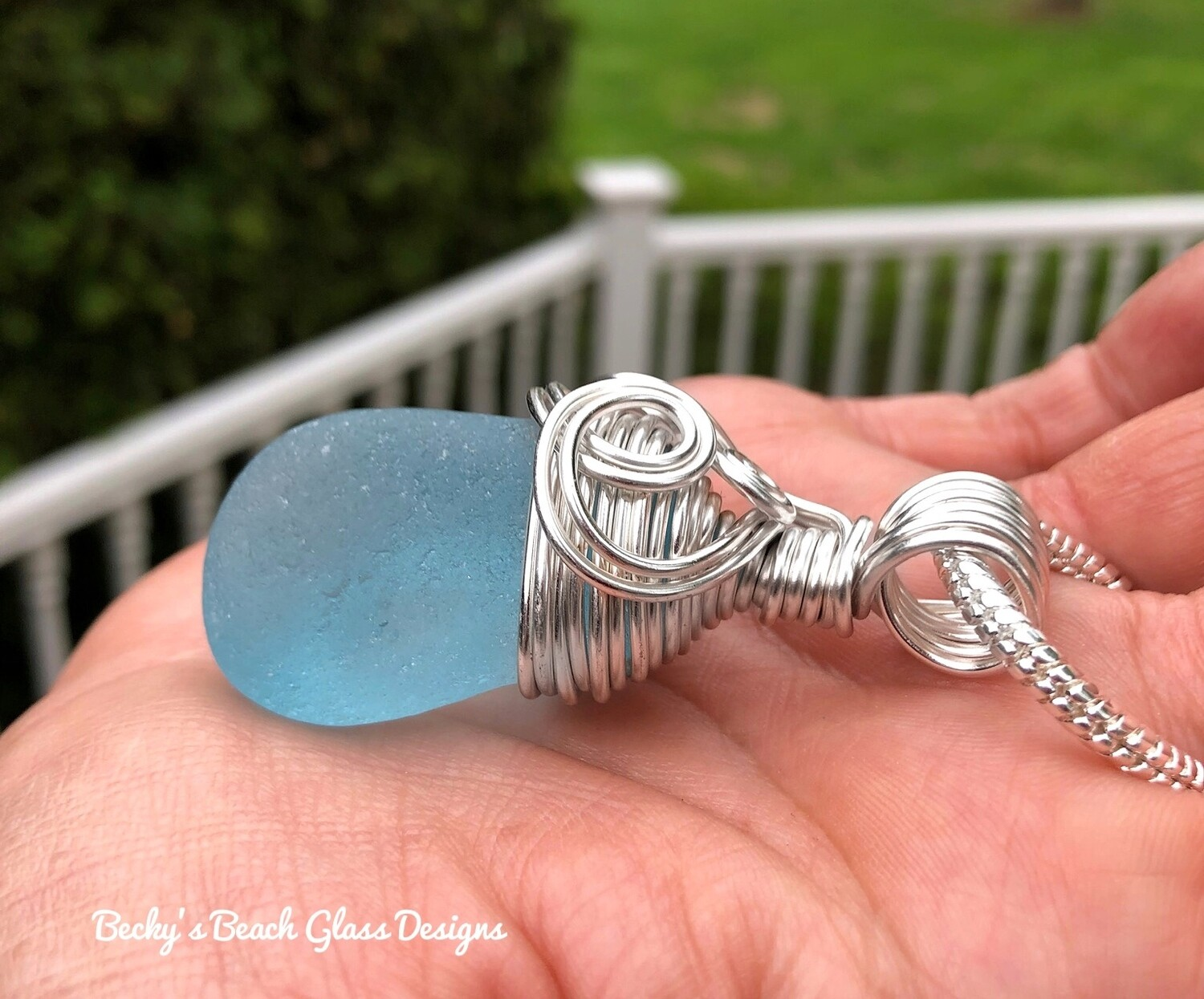 Flawless Baby Blue Russian Sea Glass Necklace