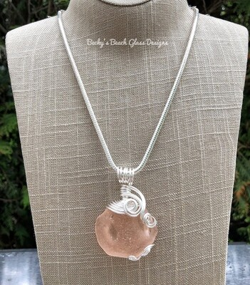 English Pink Sea Glass Necklace