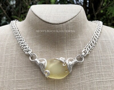 Russian Soft Yellow Sea Glass Necklace W/Handmade Chain