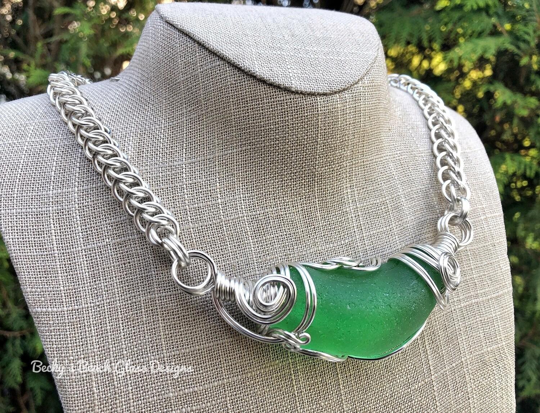 Bright Green Russian Mega Sea Glass Necklace W/Handmade Chain