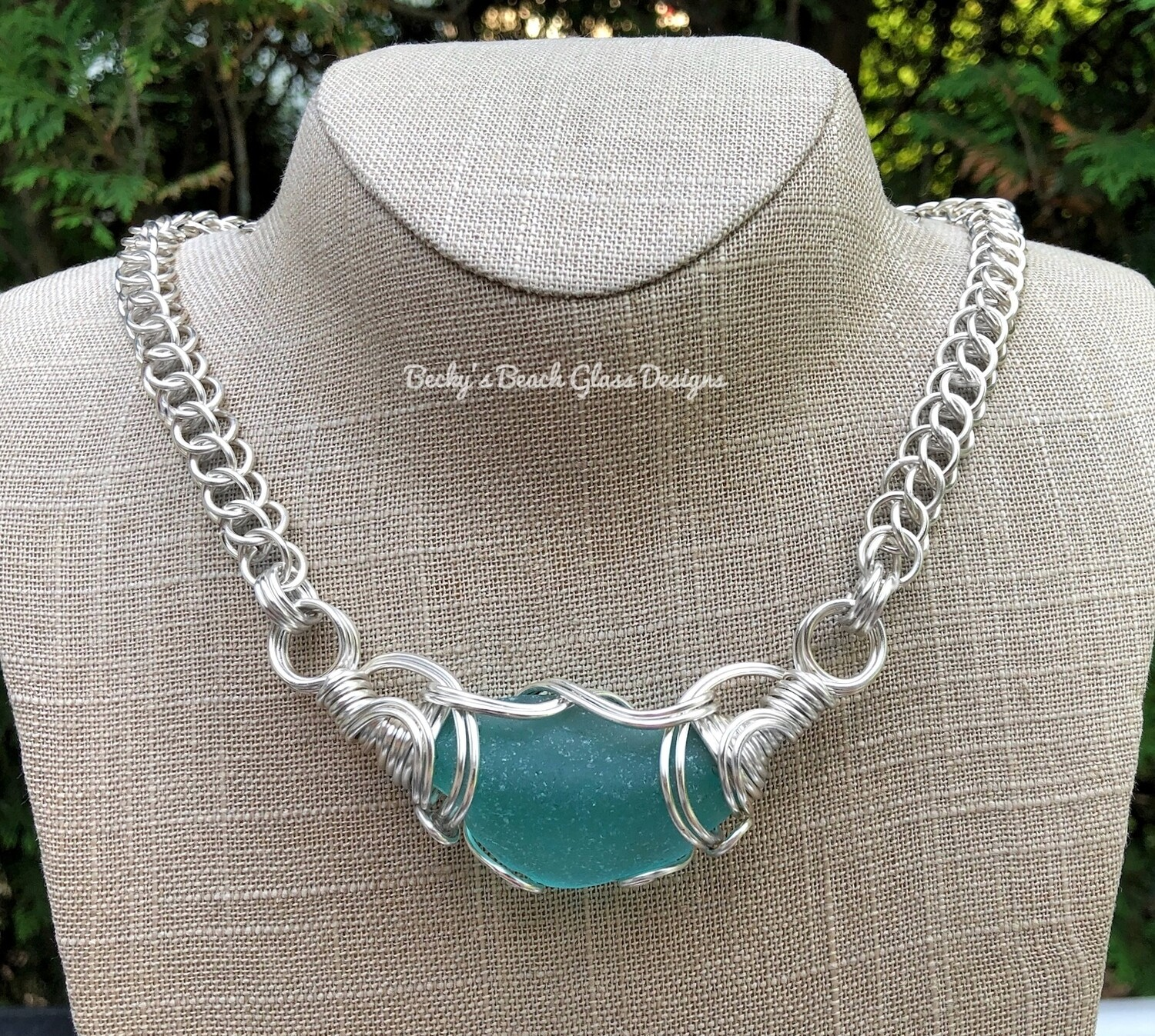 Russian Sea Glass Ocean Color Necklace W/Handmade Chain