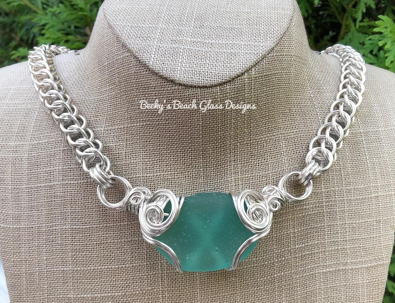 Russian Mega Sea Glass Necklace W/Handmade Chain