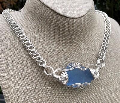Russian Blue Sea Glass Necklace W/Handmade Chain