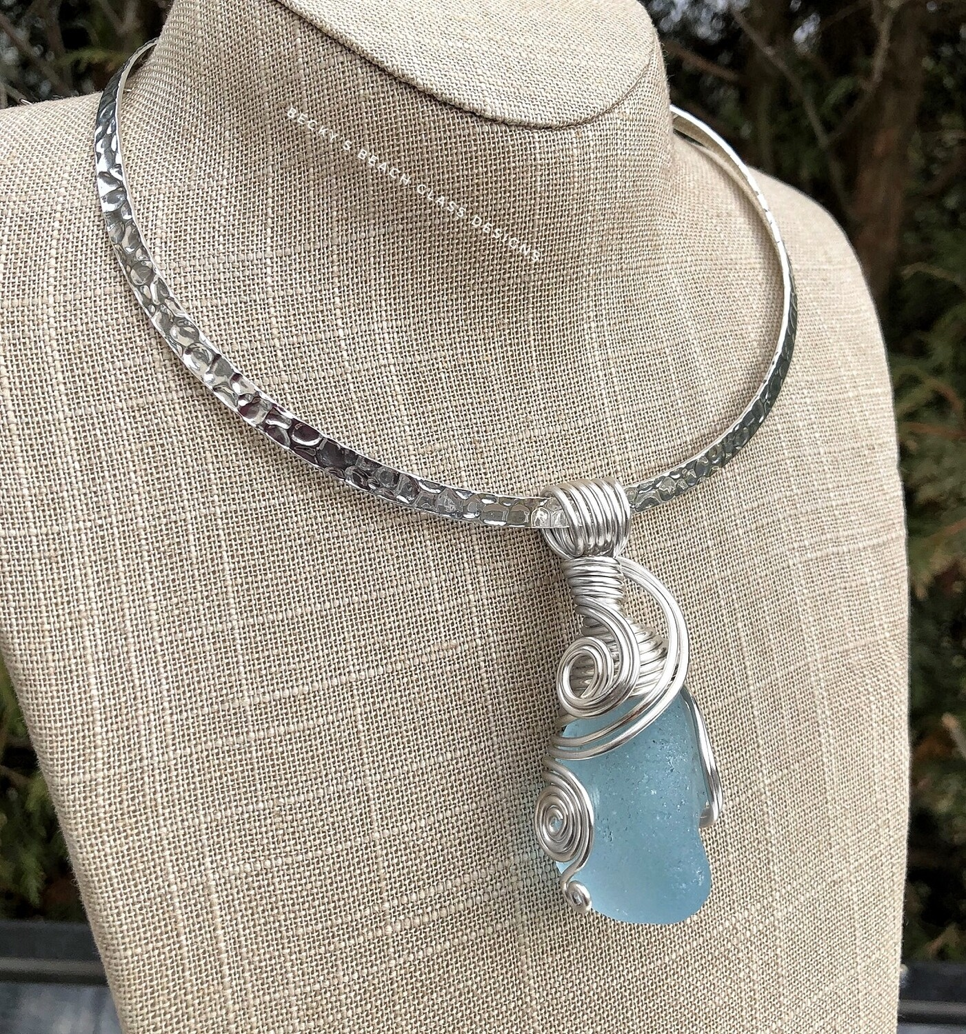 Big Beautiful Baby Blue Sea Glass Necklace